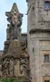 Franziskus von Assisi Skulptur, Santiago de Compostela, Spanien stockfotografie