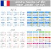 2015 Franzose-Mischungs-Kalender Montag-Sun Lizenzfreies Stockbild