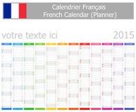 2015 Franzose-Planer-Kalender mit vertikalen Monaten vektor abbildung
