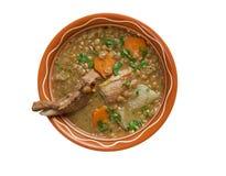 Französische Suppe mit Linsen und Dijon-Senf Stockfotografie