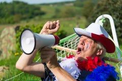 Französischer Fußballfan mit Flagge Lizenzfreie Stockfotografie