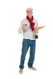 Französischer Mann mit Brot und Wein Stockfotografie