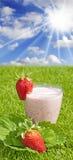 Frappè sano della fragola Fotografia Stock