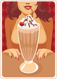 Frappe. Hot brunette is drinking delicious coffee frappe drink Stock Image