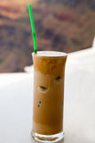 Frappe on a cafe table Stock Photo