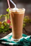 Frappe coffee. Refreshing cold frappe coffee in a tall glass Stock Images