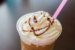 Frappe Coffee With Chocolate Topping. Ice And Whip Cream Frappe Coffee With Chocolate Topping Close Up Stock Photos