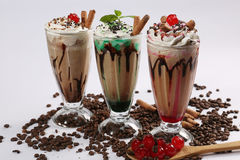 Frappe coffee with different flavours Royalty Free Stock Photography