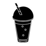 Frappe coffee straw take out container pictogram royalty free illustration