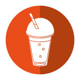 Frappe coffee straw take out container - round icon stock illustration