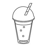Frappe coffee straw take out container thin line stock illustration
