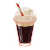 Frappe coffee straw take out container royalty free illustration