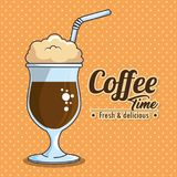 Frappe and cold drink coffee. Vector illustration graphic design Stock Photos