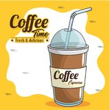 Frappe and cold drink coffee. Vector illustration graphic design Stock Photo