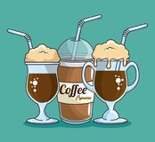 Frappe and cold drink coffee. Vector illustration graphic design Royalty Free Stock Photo