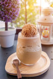 frappe mocha with ice cream in glass at coffee cafe Royalty Free Stock Photo