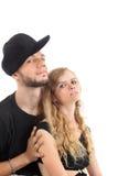 Frappeur et fille gracieuse dans le noir Image libre de droits