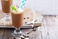 Frappuccino in a glass with cream Stock Photography