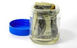 Frasco 3 do dinheiro Fotografia de Stock