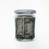 Frasco com contas de dólar Imagem de Stock Royalty Free