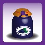 Frasco com doce de fruta da uva Fotos de Stock Royalty Free