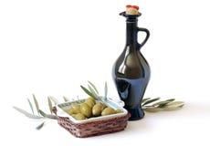 Frasco com petróleo verde-oliva Imagens de Stock Royalty Free