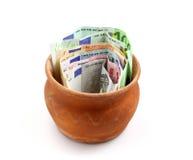 Frasco completamente do dinheiro Fotos de Stock Royalty Free