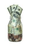 Frasco completamente do dinheiro, isolado Imagens de Stock Royalty Free
