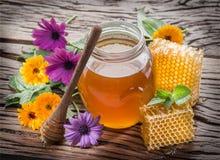 Frasco completamente do mel e dos favos de mel frescos Imagem de Stock