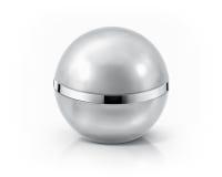 Frasco cosmético da esfera de prata no branco Foto de Stock
