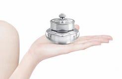 Frasco cosmético de luxe de prata disponível Fotografia de Stock Royalty Free