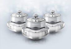 Frasco cosmético de luxe de prata no brilho Imagem de Stock