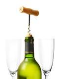 Frasco da abertura do vinho sobre o branco Imagens de Stock