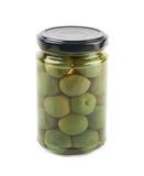 Frasco das azeitonas verdes isoladas Imagem de Stock Royalty Free