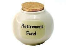 Frasco das economias da caixa de pensões Imagem de Stock