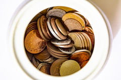 Frasco das moedas Fotos de Stock Royalty Free