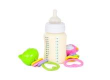 Frasco de bebê com leite Foto de Stock Royalty Free