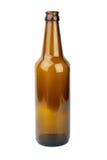 Frasco de cerveja marrom vazio fotos de stock