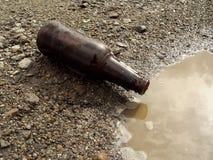 Frasco de cerveja na terra Imagens de Stock