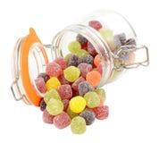 Frasco de doces da goma do fruto Imagens de Stock