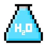 Frasco de la química llenado de agua en pixeles grandes Foto de archivo libre de regalías