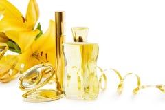 Frasco de perfume e makeups Fotos de Stock