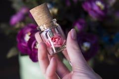 Frasco de vidro amarrado com uma fita Movimentação do flash de USB do bujão, movimentação instantânea original Rosa em uma garraf Imagem de Stock Royalty Free