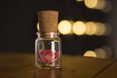 Frasco de vidro amarrado com uma fita Movimentação do flash de USB do bujão, movimentação instantânea original Rosa em uma garraf Imagem de Stock