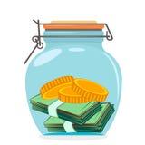 Frasco de vidro com dinheiro Imagens de Stock Royalty Free