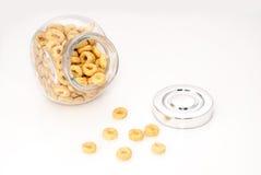 Frasco de vidro completamente dos cereais Imagem de Stock Royalty Free