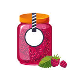 Frasco de vidro do doce doce do rosa da framboesa enchido com Berry With Template Label Illustration Foto de Stock Royalty Free