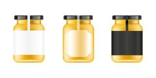 Frasco de vidro realístico Banco alimentar Projeto de empacotamento de Sause Zombaria acima do frasco de vidro com etiqueta ou cr Imagens de Stock Royalty Free