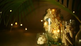 Frasco de vidro de shell tropicais para a decoração home Acessórios marinhos da casa do estilo para a decoração interior temático filme