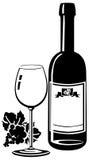 Frasco de vinho com vidro Fotos de Stock Royalty Free